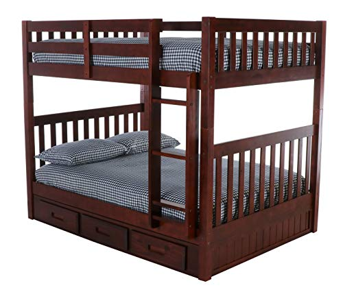 Discovery World Furniture Full Over Full Bunk Bed with 3 Drawer Storage, Merlot