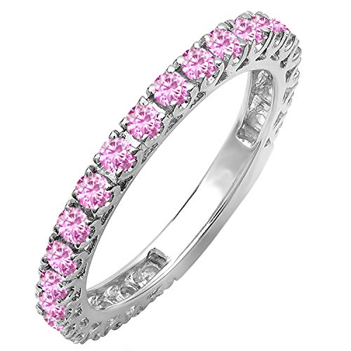 - Dazzlingrock Collection 14K Round Pink Sapphire Eternity Sizeable Stackable Wedding Band, White Gold, Size 6.5