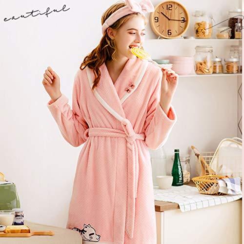 Dulce Pieza De Jóvenes Invierno Las Bata E Light Camisones Pijamas Para Niñas Regalos Rosa Pink Amigas Una Otoño Terciopelo Coral Gran Claro Tamaño qw08E