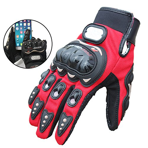 Ohmotor Professional sport motorcycle gloves men protect hands full finger Gloves with Screen Touch Sensor (Large, Red)