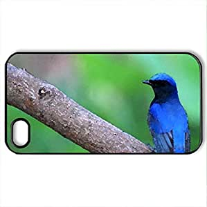 Beautiful Blue Bird - Case Cover for iPhone 4 and 4s (Birds Series, Watercolor style, Black)