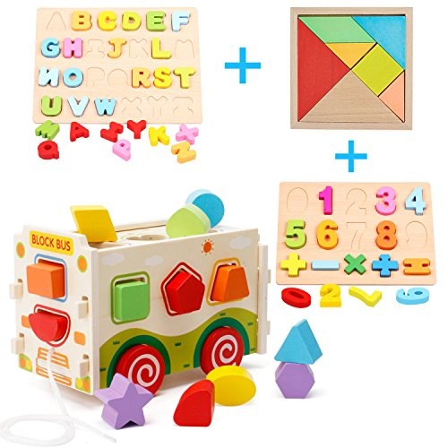 Cool Bank Wooden Shape Sorter Bus with Tangram & Number Puzzle Board & Alphabet Puzzle Board, Classic 3D Push Pull Truck Toy for Toddlers & Baby Color Recognition and Geometry (Infant 3 D Puzzle)