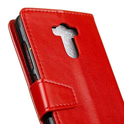 YAJIE-Carcasa Funda Para Xiaomi Hongmi Redmi 4 Prime, cristal de grano de cuero de la cartera de teléfono de la bolsa de la caja Retro Flip Stand Cover con ranuras de efectivo de tarjeta y función de  Red