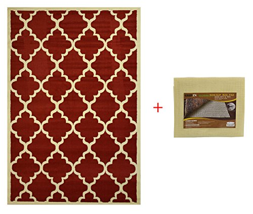 """Trellis Area Rug With Pad Moroccan Design Non-skid Rug Pad (Red, 4'9″x6'10"""") Review"""