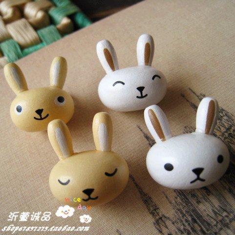 10 genuine wood wind perspective cartoon rabbit small microphones perspective brooch brooch pin badge wood
