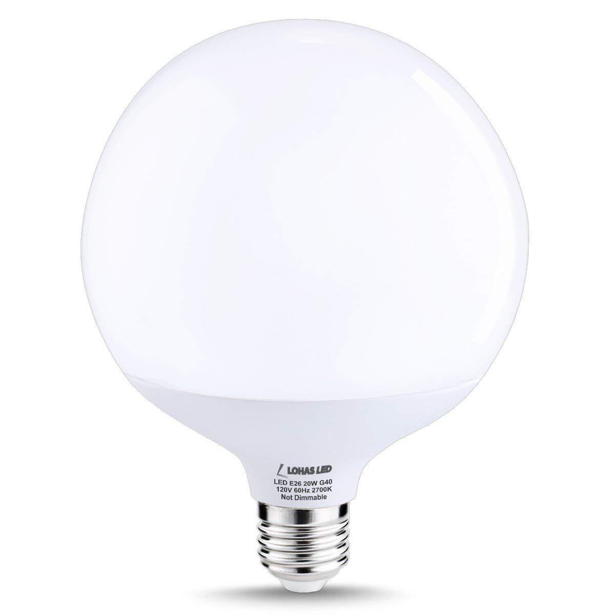 Lohas globe light bulbs g40 led 200w equivalent edison led globe bulb20w warm white 2700k e26 garage warehouse brightness light bulb 270 degree beam