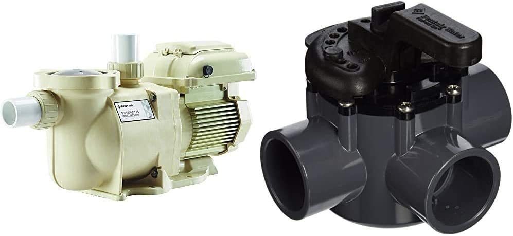 Pentair SuperFlo VS Variable Speed Pool Pump, 342001 & 263037 3-Way PVC 1-1/2 inch (2 inch Slip Outside) Pool and Spa Diverter Valve