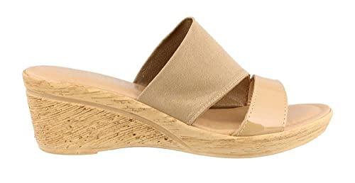 Easy Street Women's Tuscany by, Adagio Mid Heel Slide Sandals Beige 6.5 M