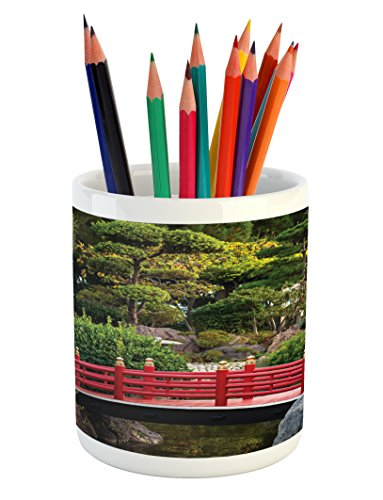 Lunarable Japanese Pencil Pen Holder, Bridge Over Pond in Japanese Garden Monte Carlo Monaco with Trees and Plants, Printed Ceramic Pencil Pen Holder for Desk Office Accessory, Red and Green -