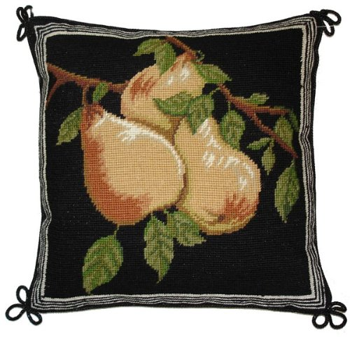(Deluxe Pillows Three Pears - 14 x 14 in. needlepoint pillow)