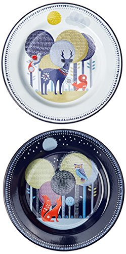 Enamel Camping Tableware (Folklore Enamel Plates, Day & Night Design (Set of 2))