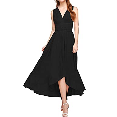 Kalin Women Cut Out V Neck Backless Bandage Wrap Maxi Party Cocktail Dresses Black 4/