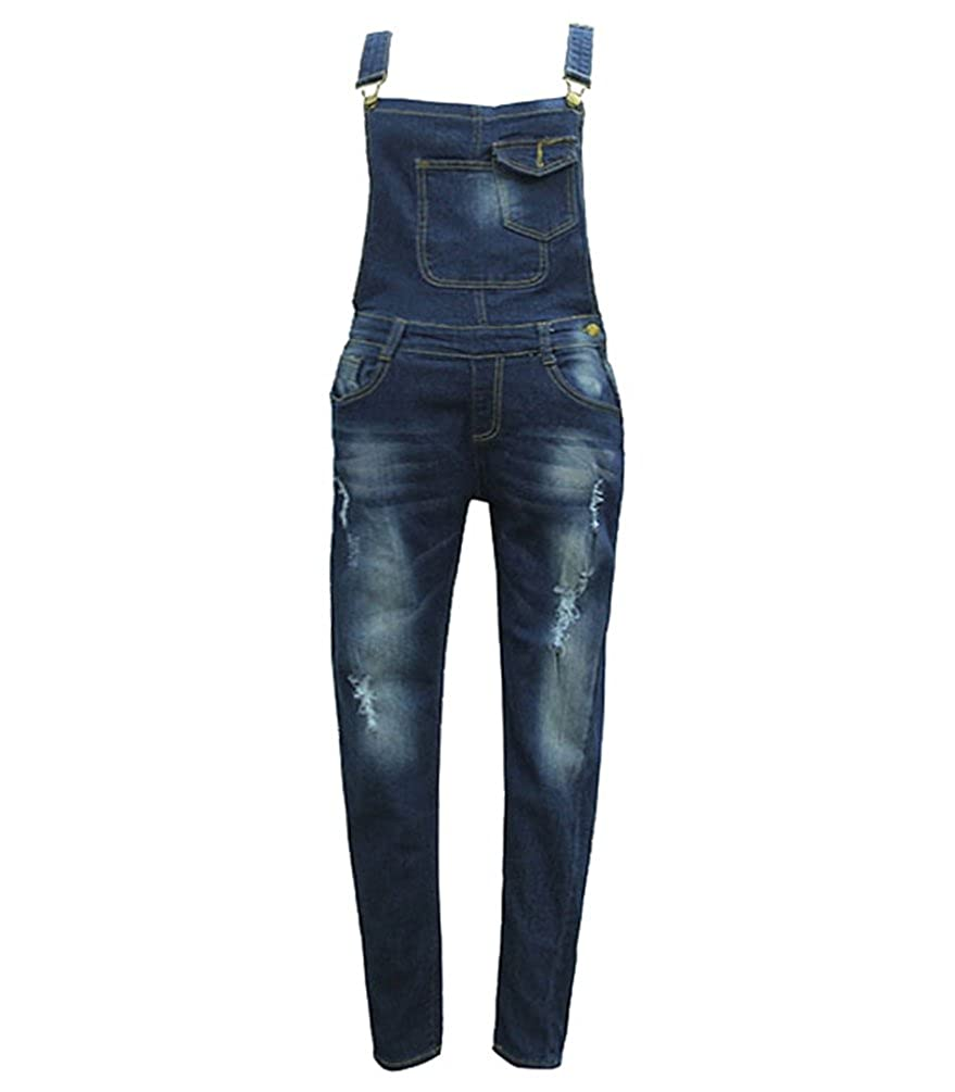 WanYang Donne Denim Elegante Salopette Jeans Ragazza Gonna Lunga Jeans Strappati Jeans Blu Donna
