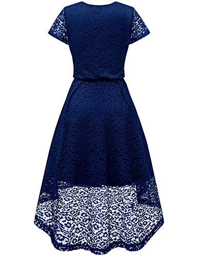 Party Lo Women's Neck Floral Flare V Hi Navy Lace Sleeve Bbonlinedress Dress Cocktail Swing 16PwqdYq