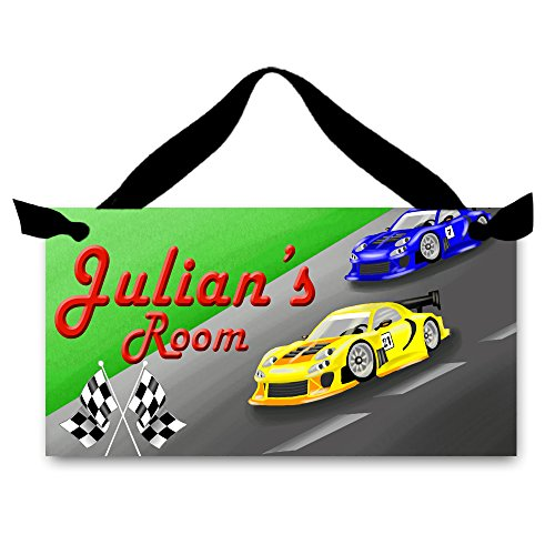 (Toad and Lily Racing Race Cars DOOR SIGN Kids Bedroom Personalized Name Sign Wall Art Decor DS0077 )