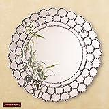 Peruvian Silver Round Mirror 23.6in - Silver wood framed wall mirrors - Bathroom mirror for wall - Decorative Cuzcaja Mirror wall decor