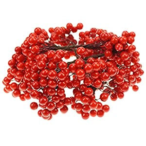 Bilipala Artificial Red Berries Stamens Decor for DIY Garland and Holiday Ornaments, 200 Stems, 400 Counts 112