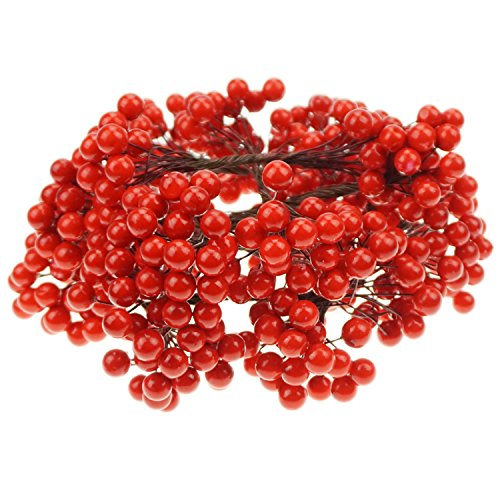 Bilipala Artificial Red Berries Stamens Decor for DIY Garland and Holiday Ornaments, 200 Stems, 400 Counts ()