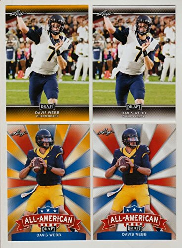 "(4) DAVIS WEBB 2017 LEAF DRAFT GOLD PARALLEL 4"" CARD ROOKIE LOT! W/H TOP LOADER!"
