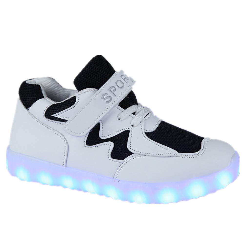 Fancyww Boy and Girl USB Charging Colorful led Lights Shoes Walking Shoes