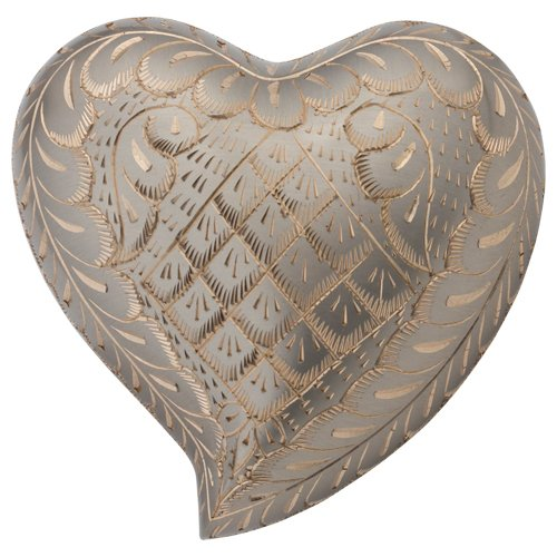 Silverlight Urns Platinum Elegance Heart Keepsake Urn, Mini Brass Urn for Ashes, Silver heart Shaped Urn (Peoples Hearts)