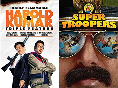 Stoner Police + Stoner College Kids: Super Troopers & Harold And Kumar Triple Feature (Go To White Castle/ Escape From Guantanamo Bay/ A Vey Christmas) DVD Bundle