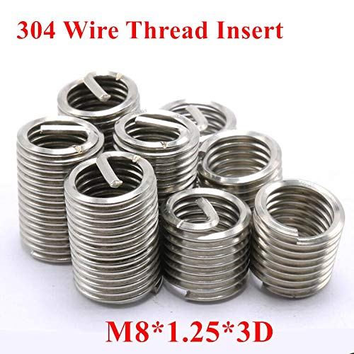 m83D Wire Screw Sleeve Thread Repair Insert Ochoos 100pcs M81.253D M8 Wire Thread Insert 304 Stainless Steel Screw Bushing