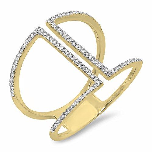 - Dazzlingrock Collection 0.30 Carat (ctw) 14K Round White Diamond Ladies Geometric Fashion Ring 1/3 CT, Yellow Gold, Size 10