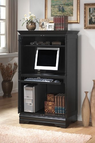 Contemporary Black Computer Cabinet Armoire Desk Workstation