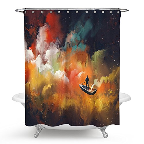 (Tidy decor Fantasy Art Shower Curtain by, Man on a Boat Floating Cloud in Colorful Psychedelic Background,Waterproof and Anti Mildew Fabric Bathroom Shower Curtains)