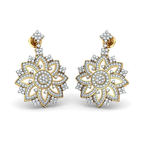 14 K Or jaune cinéma CT TW White-diamond (IJ | SI) Pendants d'oreilles