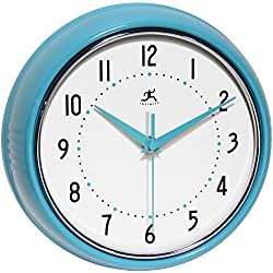 Infinity Instruments 10940-TQSE Turquoise Retro 9-1/2-Inch Metal Wall Clock