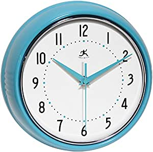 Infinity Instruments Turquoise Retro 9 1 2 Inch Metal Wall Clock Home Kitchen