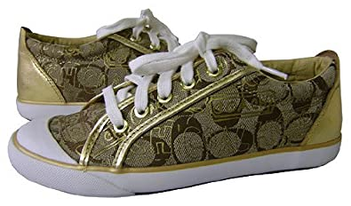dd6d6eb2890 Coach Barrett Signature Graffiti Gold Tennis Shoes - Gold - 6.5 ...