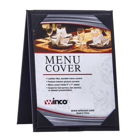 Winco LMTD-57BK, Black Two View Menu Table Tent for 5x7-Inch Inserts