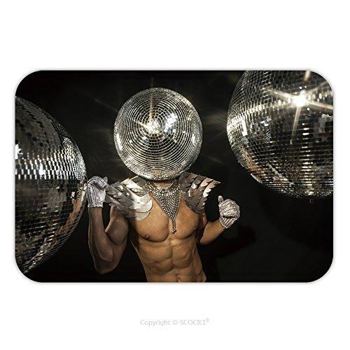 Flannel Microfiber Non-slip Rubber Backing Soft Absorbent Doormat Mat Rug Carpet Mr Discoball Disco Party Superhero 436905076 for - Gosling Mr