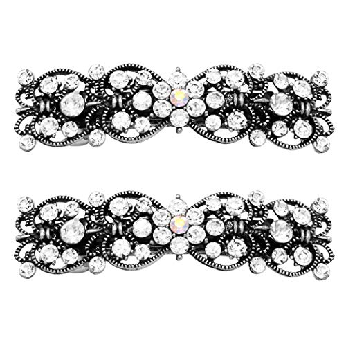 Rosemarie Collections Women's Crystal Hair Clip Rhinestone Barrette Hair Accessories Antiqued with Flower Center (Antique Silver Tone)