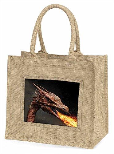 Advanta Fierce Fire Flame Mund dragon Große Einkaufstasche/Weihnachten Geschenk, Jute, beige/natur, 42x 34,5x 2cm