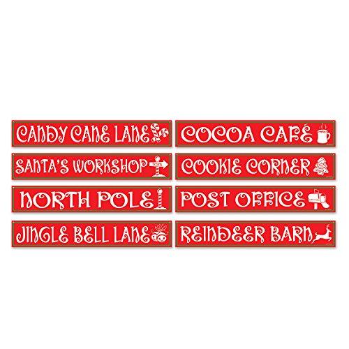 Beistle S22504AZ3, 12 Piece North Pole Street Sign Cutouts, 4'' x 24''