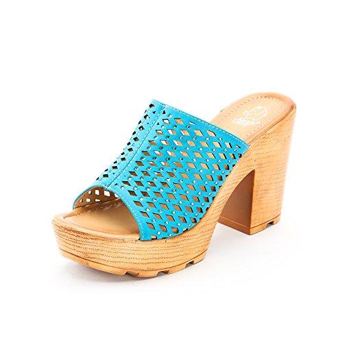 Alexis Leroy 2015 Spring Summer Womens' Wedge Design Fashion Sandal Shoes Blue 38 M EU / 7-7.5 B(M) US