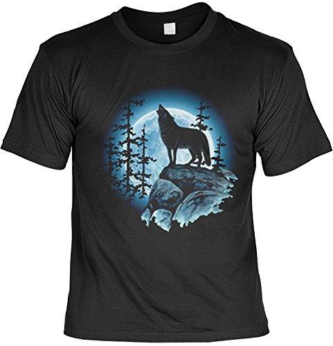 Heulender Wolf auf Felsen in der Nacht: Wolfsmond - T-Shirt bedruckt