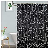 Black Fabric Shower Curtain LanMeng Elegance Luxury Bathroom Fabric Shower Curtain, White Circle Black Background, Waterproof, 72-by-72 inches