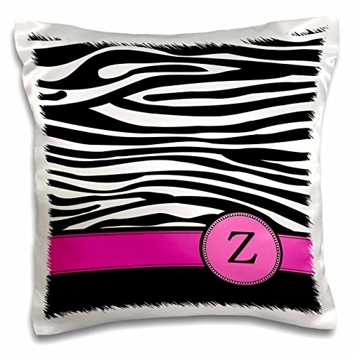 3dRose Letter Z Monogrammed Black and White Zebra Stripes Animal Print with Hot Pink Personalized Initial-Pillow Case, 16 by 16