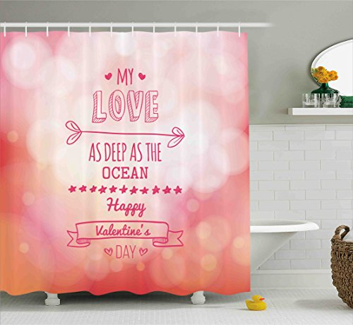 Valentines Day Shower Curtain Set by Ambesonne, Pink Decor My Love as Deep as the Ocean Romantic For Her with Stars Hearts Arrow, Fabric Bathroom Decor with Hooks, 70 Inches, Pink Coral