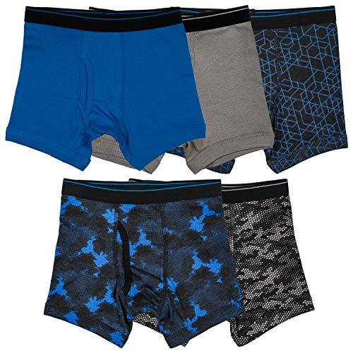 Trimfit Boys 100% Cotton Tagless Boxer Briefs 5-Pack, Active Essentials, Medium / 6-8 -