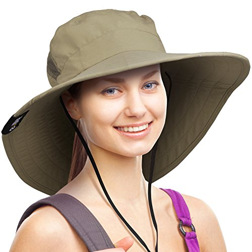 Wide Brim Sun Hat Outdoor UV Protection Safari Cap for Women
