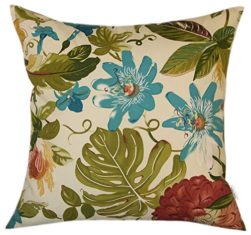 TangDepot 100% Cotton Floral Printcloth Decorative Throw Pillow Covers, Handmade,45 Colors,19 Sizes Avaliable, Indoor/Outdoor Square Cushion Cover - (16