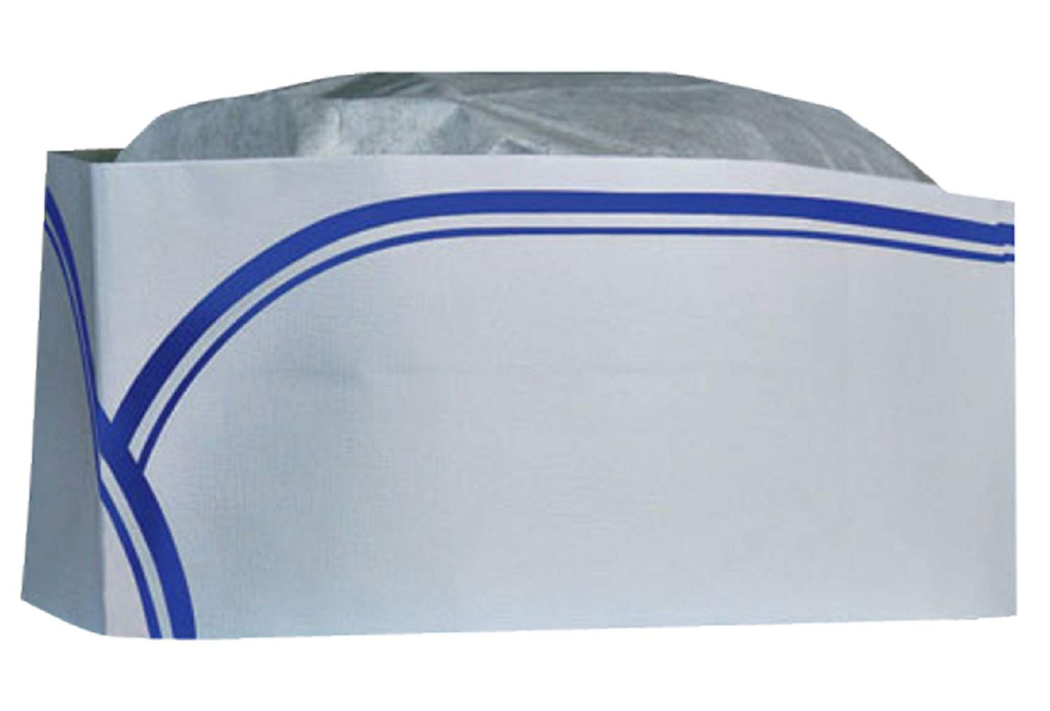 CELLUCAP RC100 Low Profile Overseas/Soda Jerk Hat, Tissue Crown, Blue Stripe, Box of 100