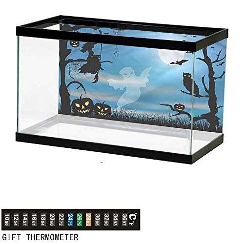 bybyhome Fish Tank Backdrop Halloween,Fantastic Forest at Night,Aquarium Background,24