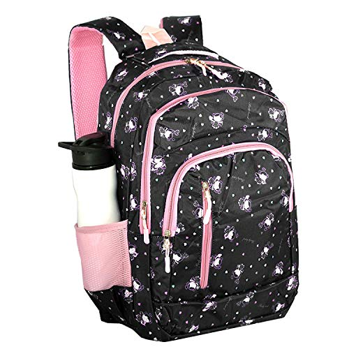 TULMAN Women's Printed Shoulder Backpack Imported College Bag for Girls School Backpack (30x45x13 cm)- 22 LTR- Black